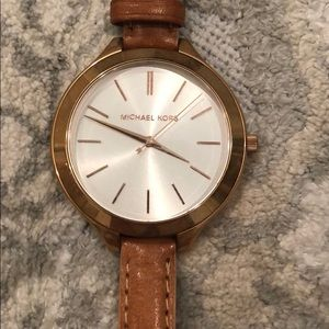 Michael Kors Leather watch w rose gold accent